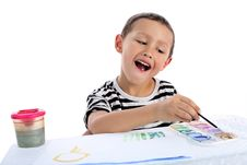 Free Boy Draw A Picture Isolated On White Stock Photo - 8244930