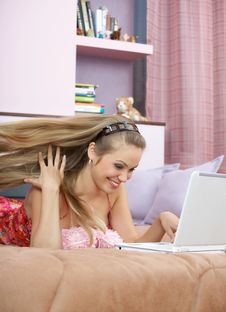 Free The Girl With The Laptop Stock Image - 8245401
