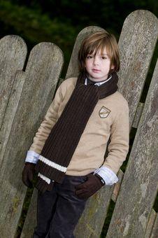 Free Cute Autumn Boy Near Fence Royalty Free Stock Image - 8245676