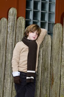 Free Cute Autumn Boy Near Fence Stock Images - 8245754