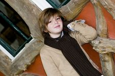 Free Cute Autumn Boy Near Cottage Stock Image - 8245871