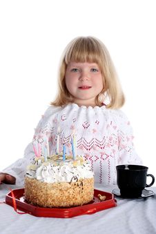 Free Girl With Birthday Cake Royalty Free Stock Images - 8246809