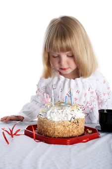 Free Girl With Birthday Cake Stock Images - 8246834