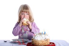 Free Girl With Birthday Cake Royalty Free Stock Photography - 8246947