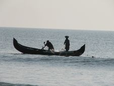 Indian Fishing Boat In Sea Stock Images