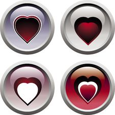 Set Heart Icons Stock Images