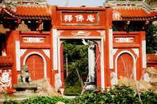 Free Pengzhou, China: Shi Fo Temple Entry Gate Stock Photography - 8247672