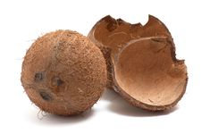 Free Whole And Broken Coconut On White Background. Royalty Free Stock Photography - 8249527