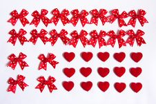 Free Red Bows And Red Hearts. Stock Photography - 8249662