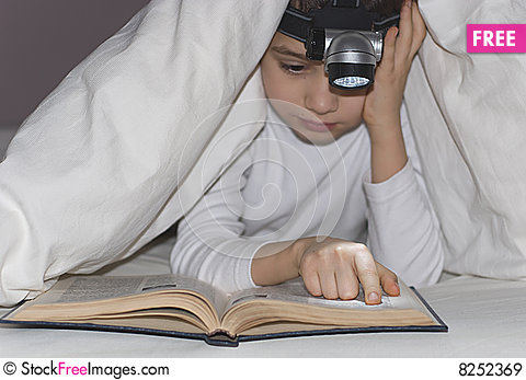 Free Boy Reads The Book Royalty Free Stock Images - 8252369