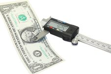 Free Measurement Of Thickness Of Dollar Royalty Free Stock Photo - 8250885