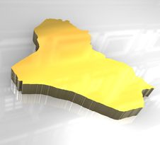 3d Golden Map Of Iraq Stock Photography