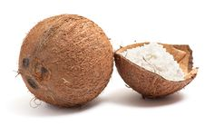 Free Whole And Half Part Of Coconut. Royalty Free Stock Photos - 8251048