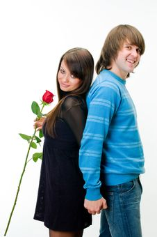 Free Young Couple With Rose Stock Image - 8251891