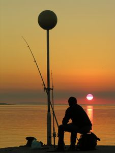 Free A Fisherman By The Sunset Stock Images - 8253304