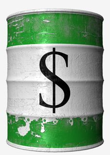 Money Oil Barrel Stock Photo