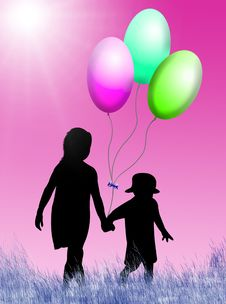 Free Children With Balloons Stock Photo - 8254900