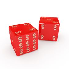 Playing Six-sided Red Dices With Dollar Sign Stock Images