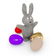 Free Easter Bunnies Is Among The Eggs Stock Photo - 8255060