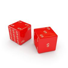 Playing Six-sided Red Dices With Dollar Sign Royalty Free Stock Images