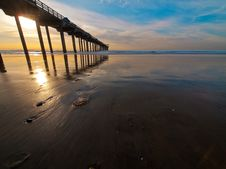 Sunset, Pier, And Jellyfish Stock Image