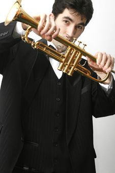 Free Trumpet Player Royalty Free Stock Photography - 8255787