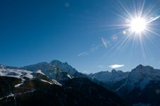 Panoramic View Of Italian Dolomites Covered By Sno Stock Photography