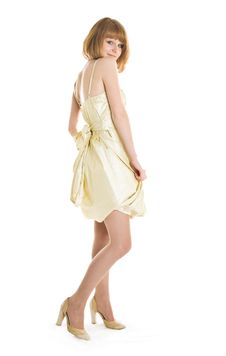 Beautiful Woman In Beige Dress Stock Images