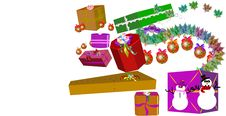 Christmas Gifts And Ornaments In 3d Stock Image