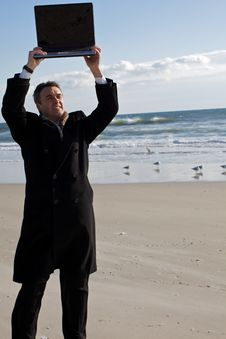 Free Businessman On The Beach Stock Photos - 8256853