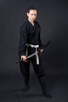 Free Female Samurai With Katana Royalty Free Stock Photos - 8256938