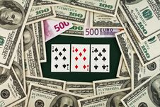 Free Playing Cards And Money Royalty Free Stock Photo - 8256975