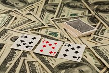 Free Playing Cards And Money Stock Photos - 8257013