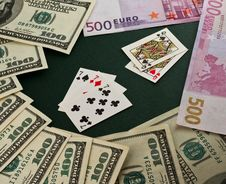 Free Playing Cards And Money Royalty Free Stock Photo - 8257085