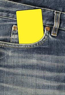 Jean Texture With Pocket And Empty Card Stock Photo