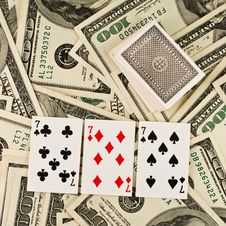 Free Playing Cards And Money Royalty Free Stock Images - 8257269