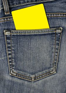 Jean Back Pocket And Empty Card Royalty Free Stock Photography