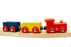 Free Wooden Train Over White Royalty Free Stock Photo - 8257605