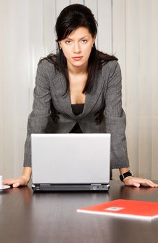Free Businesswoman With Laptop In The Office Stock Image - 8258081