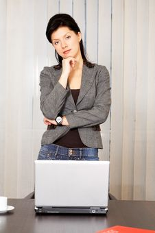 Free Pensive Caucasian Businesswoman With Laptop Royalty Free Stock Image - 8258086