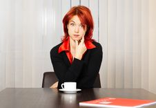 Free Pensive Caucasian Businesswoman In The Office Stock Photography - 8258092