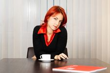 Free Pensive Caucasian Businesswoman In The Office Stock Photos - 8258093