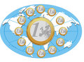 Free Euro Coins Placed In Circle With Blue Background Royalty Free Stock Images - 8261359