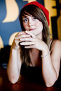 Free A Beautiful Young Woman Having Lucnh In A Cafe Stock Photography - 8264422
