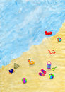 Free Drawing Of Beach With Things On Sand Stock Photos - 8269363