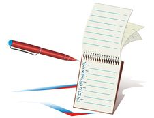 Red Ball-point Pen And Notepad Stock Photography