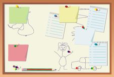 Free Children Draw On Reminder Panel Royalty Free Stock Images - 8261499