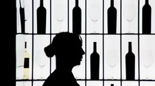 Free Silouette Of A Waitress Against Bottle And Glasses Royalty Free Stock Photography - 8261597