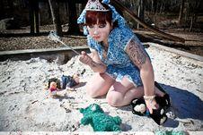 Free Girl In Sandbox Stock Photography - 8261612