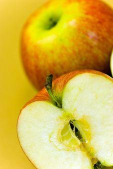 Free Apple Halves On Golden Background. Close Up Stock Image - 8262891